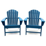 LuXeo - Hampton Poly Outdoor Patio Adirondack Chairs, Set of 2, Navy - Bring that beachside feel to your own backyard with this stylish and ultra-comfortable Adirondack Chair. Designed in the USA and showcases a traditional design with a rounded back. Made of recycled plastic poly material, our version is more enduring than classic wood, in a variety of vibrant and classic colors that requires no maintenance. With its roomy seat and gently reclined curved back, you'll want to lounge and relax for hours. This lovely outdoor chair is a perfect compliment and a must have to your outdoor space.