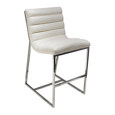 Bardot Counter Height Chair With Stainless Steel Frame, White