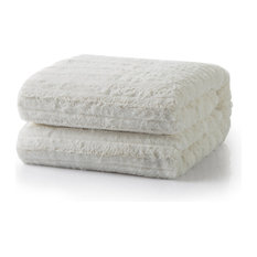 "Faux Fur Sherpa Throw, Ivory, 63""x87"""