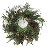 """Farm House Red Berry and Pine Holiday Wreath, 24"""""""