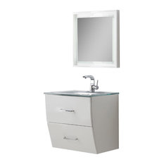 "Fresca Platinum Wave 24"" Bathroom Vanity With Mirror, Glossy White"