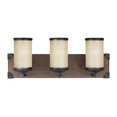Dunning 3-Light Bath Vanity, Stardust, Creme Parchment Glass