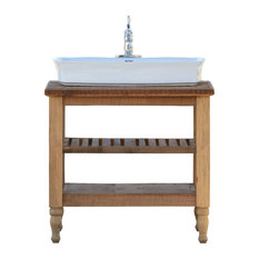ReLA   Vitreous China Trough Vessel Sink Package Reclaimed Wood French  Provincial Stand   Bathroom Vanities
