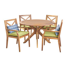 GDF Studio 5-Piece Jenson Outdoor Wood Dining Set with Cushions, Teak/Green