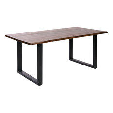 Fleming Living Edge Acacia Wood Dining Table, Living Edge Acacia Wood With Natu