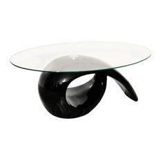 vidaXL Glass Top Coffee Table High Gloss, Black