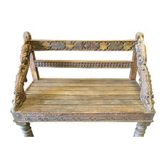 Mogul Interior - Consigned Indian Bench Hand Crafted Floral Rustic Reclaimed Wood Accents - Accent And Storage Benches