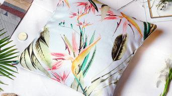 Botanical Design Sateen Cushion Cover