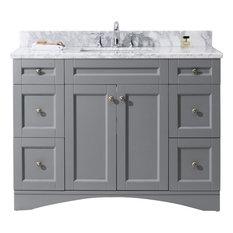 "Virtu Elise 48"" Single Bathroom Vanity, Gray With Marble Top And Square Sink"