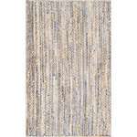 nuLOOM - Hand Braided Jute and Denim Striped Area Rug, Blue, 5'x8' - Made from the finest materials in the world and with the uttermost care, our rugs are a great addition to your home.