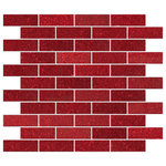 Susan Jablon - Red Glitter Glass Subway Tile, Full Sheet - This red glittering 1x3 inch glass subway tile is a dark full-bodied red and highlighted with reflective red glitter.