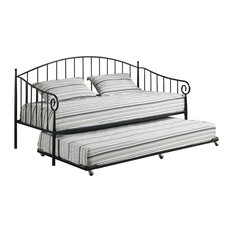 Pilaster Designs - Emele Metal Daybed With Roll-Out Trundle & 2 Mattresses, Black - Daybeds