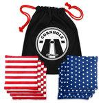 GoSports - GoSports Stars and Stripes Premium All-Weather Duck Cloth Cornhole Bean Bag Set - Premium Quality