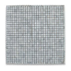 "12""x12"" Carrara White Square Mosaic Tile Polished, Chip Size: 3/8""x3/8"""