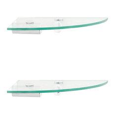 Set of Two Corner Floating Storage Shelves with Brackets