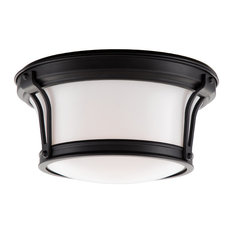 Newport, 10-inch Flush Mount, Old Bronze Finish, Opal Glossy Glass Shade
