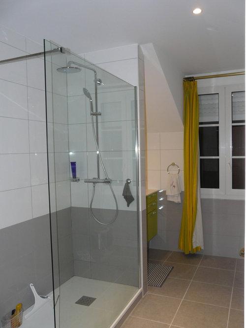 salle de bain moderne vert anis faience blancgrise - Faience Vert Et Blanc
