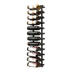 Wall Series 4 Foot Wall Mounted Metal Wine Rack, 24 Bottles, Satin Black