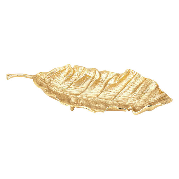 Bring a lively tropical vibe to your home with the Stara leaf tray crafted from durable aluminum. It features a leaf-shaped body with vein details, a stem handle, and ball feet to keep it steady on even surfaces. Its compact size and metallic gold finish make it an excellent decor for tables, consoles, or shelves.Features:Leaf design bring a tropical vibe to your interiorCrafted with quality materials for lasting enjoyment and added valueSized to create an eye-catching focal point in any roomSpacious top can accommodate a variety of decorative fillers and accessoriesLeaf handle and ball feet keep it steady on even surfacesEnhances decor and elevates the style of any space