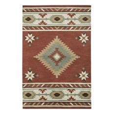 Southwest Rectangle Rustic Rug, Rust/Border Color Ivory, 5'x8'