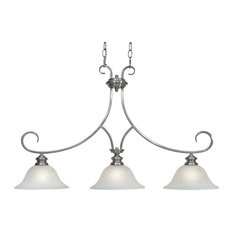 Lancaster 3-Light Linear Pendant in Pewter With Marbled Glass
