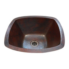 """16"""" Rectangular Copper Bar Kitchen Sink 2"""" Drain Included Dual Mount"""