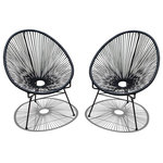 Harmonia Living - Acapulco 2-Piece Lounge Chair Set, Jet Black - The 2 Piece Acapulco Lounge Chair Set in Jet Black with Black Frame (SKU HL-ACA-2LC-JB) by Harmonia Living blends mid-century design with modern funk to create a new standard of comfort and style for your patio. The collection is inspired by woven furniture that was incredibly popular in Central America in the 1950s and '60s, creating seating that is supportive and breathable. This makes the Acapulco Lounge Chair ideal for unwinding even in the warmest climates. The chair is designed to center your weight between its triangular legs, providing a stable and comfortable resting position that seems to defy the outrageous geometry of the collection. Beyond its comfortable design, the lounge chair is constructed with a powder-coated steel frame, making it incredibly durable and weather-resistant. The frame is wrapped in a supportive Polyethylene cord, giving the collection its distinctive look. The chair is available in 7 funky colors that are sure to brighten up your patio, including Glacier Blue, Candy Apple Red, White Lighting, Lime Green, Hot Pink, Atomic Tangerine and Jet Black.