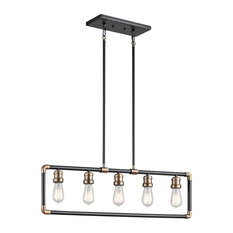 5-Light Linear Chandelier, Black and Natural Brass