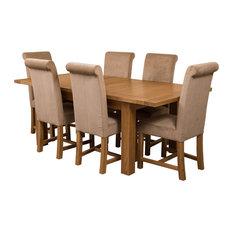 Seattle Oak Extending Dining Table, 6 Washington Chairs, Beige Velvet Effect