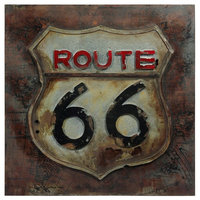 """""""Route 66"""" Primo Mixed Media Hand Painted Iron Wall Sculpture"""