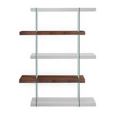 IL Vetro High Gloss White/Walnut Veneer Bookcase