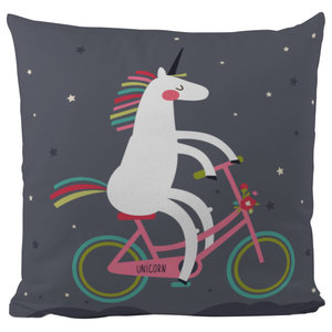 Printed Scatter Cushion, Unicorn With A Bike