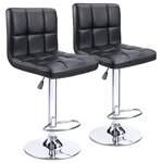 PU Leather Adjustable Bar Stool Counter Height Chair With Backrest, Set of 2 - This Is Our Brand New And Modern Square Bar Stool Set, Which Will Perfectly Decor Your Living Room And Also Add An Contemporary Touch To Your Office, Bar Or Restaurant. Height Adjustment As The User Like. Foot Rest Allow For Easy Comfort While Sitting. Rubber Ring Under The Base Can Protect The Ground Well Against Slipping. Waterproof And Anti-Aging PU Leather Combining With Heavy Duty Metal Frame Provides You Years Of Durable Use. Don't Hesitate To Take It Home!