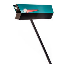 Mid-Century Modern 2-Tone Mailbox, Turquoise and Black