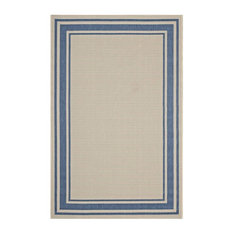Rim Solid Border Borderline 5'x8' Indoor and Outdoor Area Rug, Blue/Beige