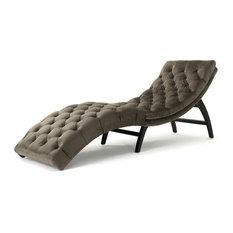 Garamond Tufted New Velvet Chaise Lounge, Gray