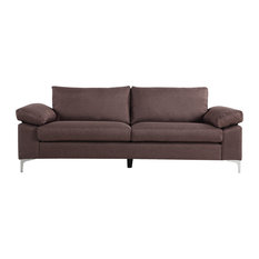 Divano Roma Furniture Modern Linen Fabric Sofa Low Profile Living Room Couch Brown