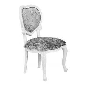 Accent Chair, Wooden Frame and Linen Fabric Seat, French Heart Design