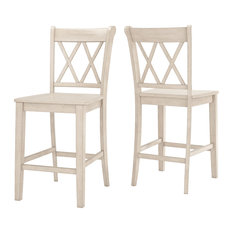 Arbor Hill X Back Counter Chair, Set of 2, Antique White