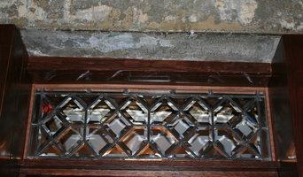 Hand beveled leaded glass transom