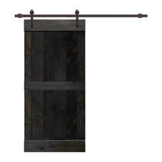 "TMS Mid-Bar Barn Door With Sliding Hardware Kit, Charcoal Black, 24""x84"""