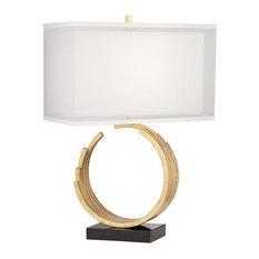 Pacific Coast Riley Omega Circle Metal Table Lamp, Gold Leaf