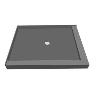 Tileredi   TileRedi P3648CDR PVC 36x48 Double Curb Pan Center Drain   Shower  Pans And