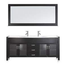 "Virtu Usa Inc. - Virtu Ava 71"" Double Bathroom Vanity, Espresso With Faucet And Mirror - Bathroom Vanities and Sink Consoles"