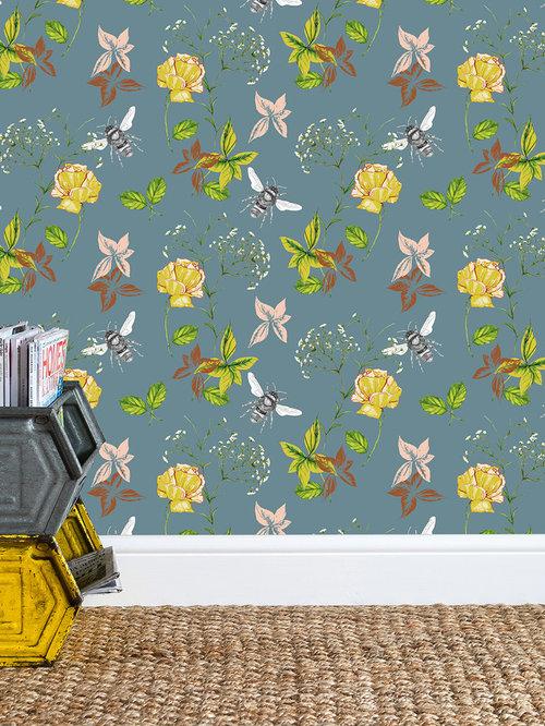 Flora & Fauna Blue Wallpaper - Wall Decor