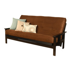 Caleb Frame Futon With Black Finish, Suede Chocolate