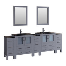 """96"""" Bosconi Gray Double Vanity Set, Rectangle Sink, Integrated, Black Tempered G"""