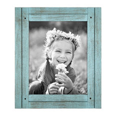 """Distressed Wood Picture Frame, Turquoise, 8""""x10"""", Turquoise"""
