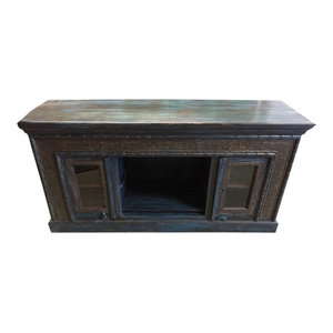 Mogul Interior - Consigned Antique Cart Media Console Dark Brown Teal Patina Sideboards Chest - Buffets And Sideboards