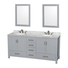 "Sheffield 72"" Double Vanity, Gray, Carrera Marble Top, Undermount Oval Sinks"